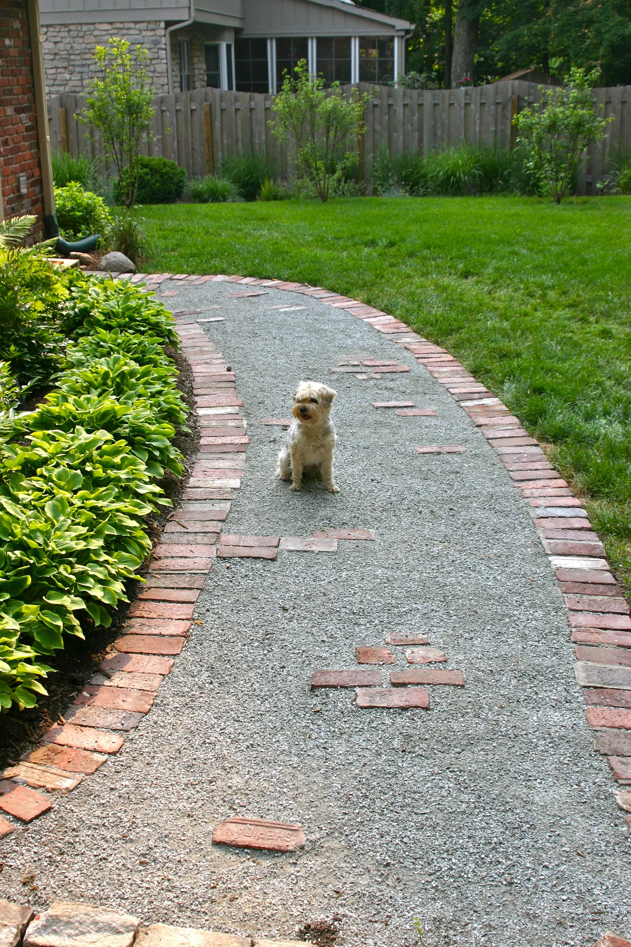Garden walkway from recycled brick when our front steps for Paving designs for small garden path