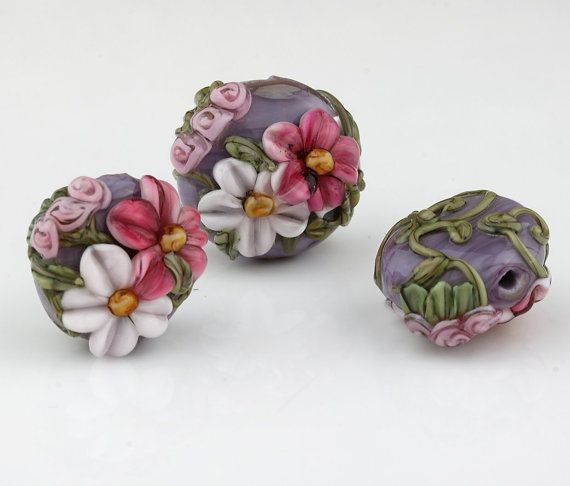 Grape Purple with Pink Flowers Handmade Lampwork Glass Big Hole Bead