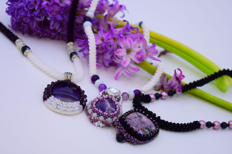 Royal Purples - Bead crocheted handmade necklaces  https://micuka.com/Category_Royal_Purples.html