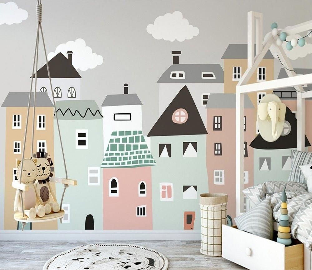 Kids Little Scandi House Wallpaper Mural In 2020 Kids Room Wall Murals Kids Room Wallpaper Kids Room Wall