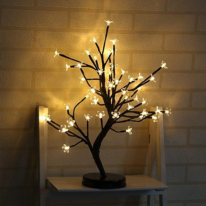 Amazon Com Lxcom Led Cherry Blossom Tree Light Desk Top Bonsai Light 20inch 48leds Battery Powered Crystal Flower Led Bonsai Tree Ta Tree Lamp Lamp Table Lamp