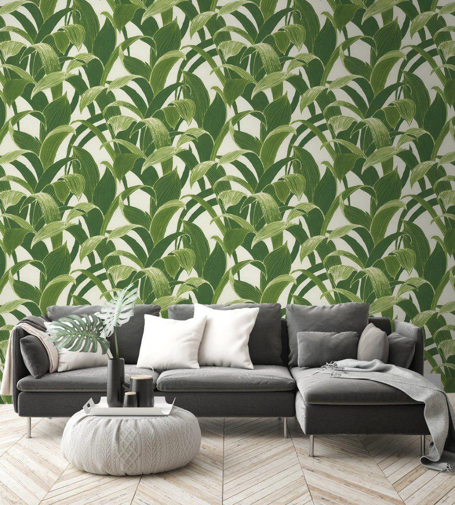 Banana Groves PeelandStick Wallpaper in Green by