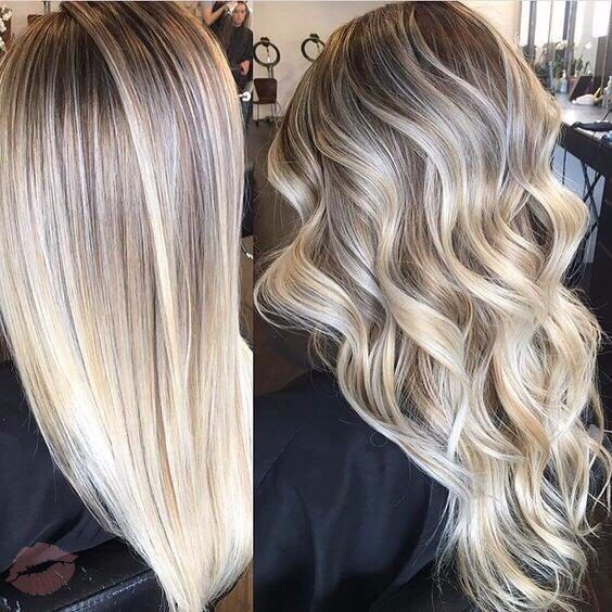 Platinum Blonde with Ashy Root Extension and Lowlights