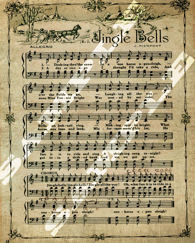 Sheet Music Printable Sheet Music And Hands On Pinterest: Jingle Bells Christmas Holiday Art Sheet Music Printable