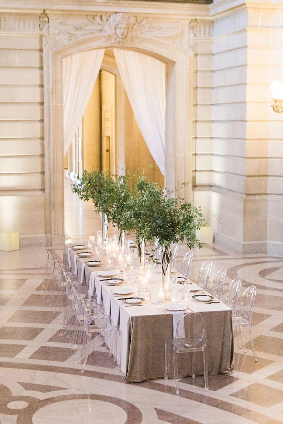Wedding room decoration ideas 2018  San Francisco City Hall Wedding with a Modern Flair in