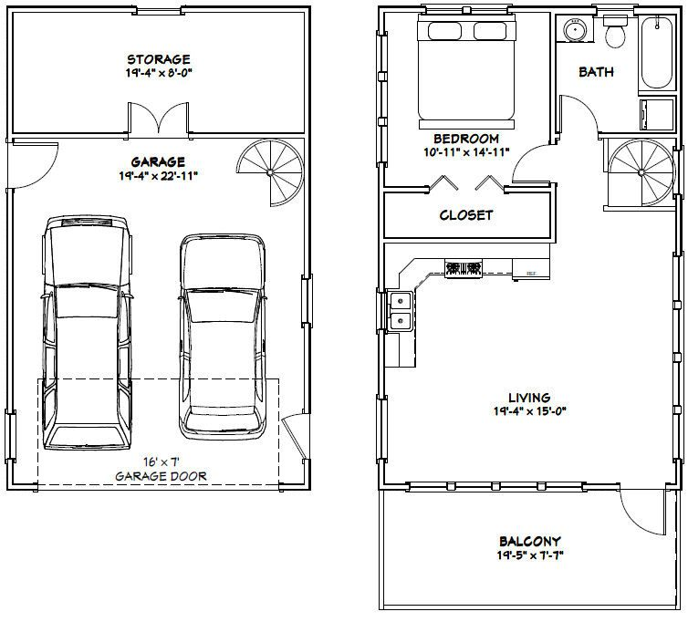 The Ideas Of Using Garage Apartments Plans: 20x32 House -- #20X32H6W -- 785 Sq Ft