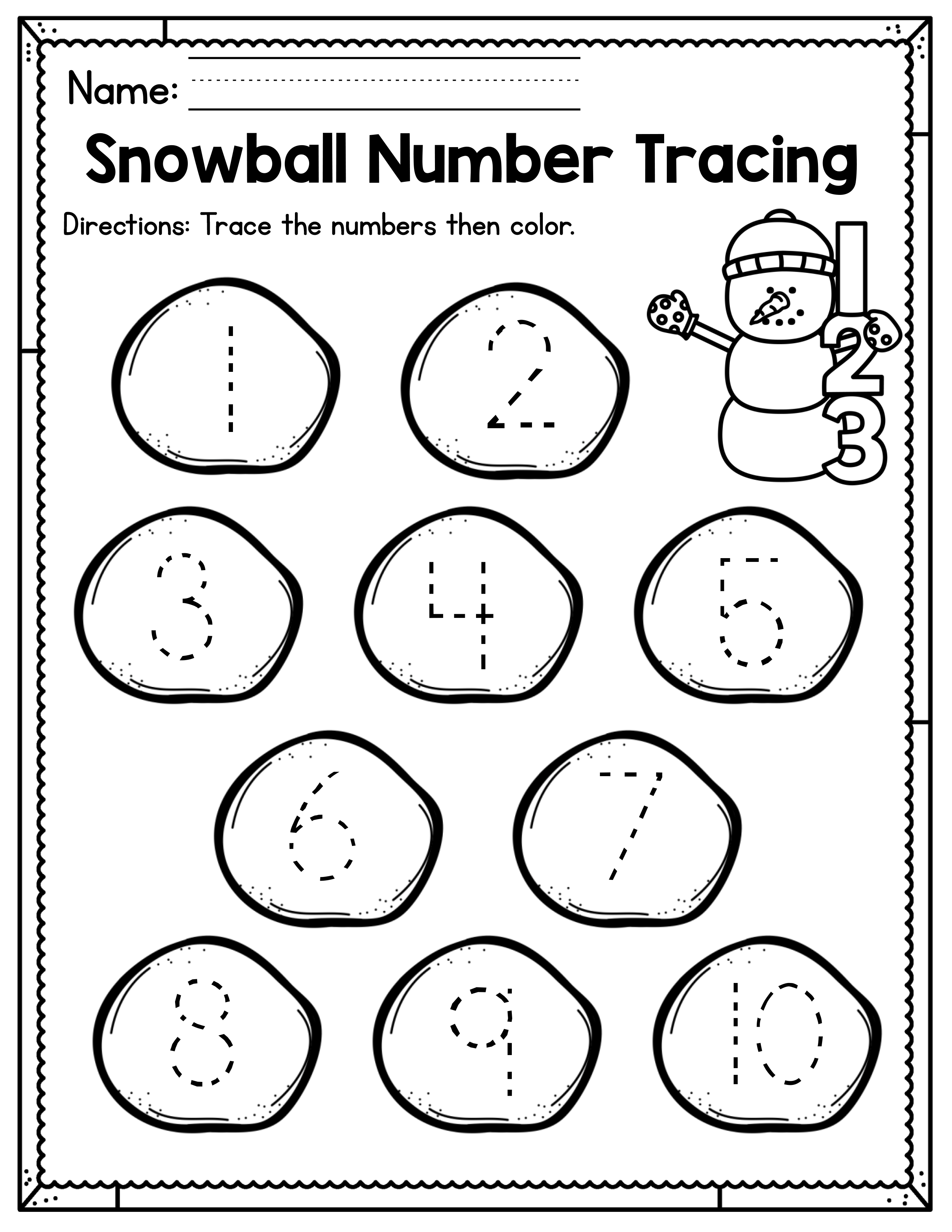Winter Preschool Worksheets January