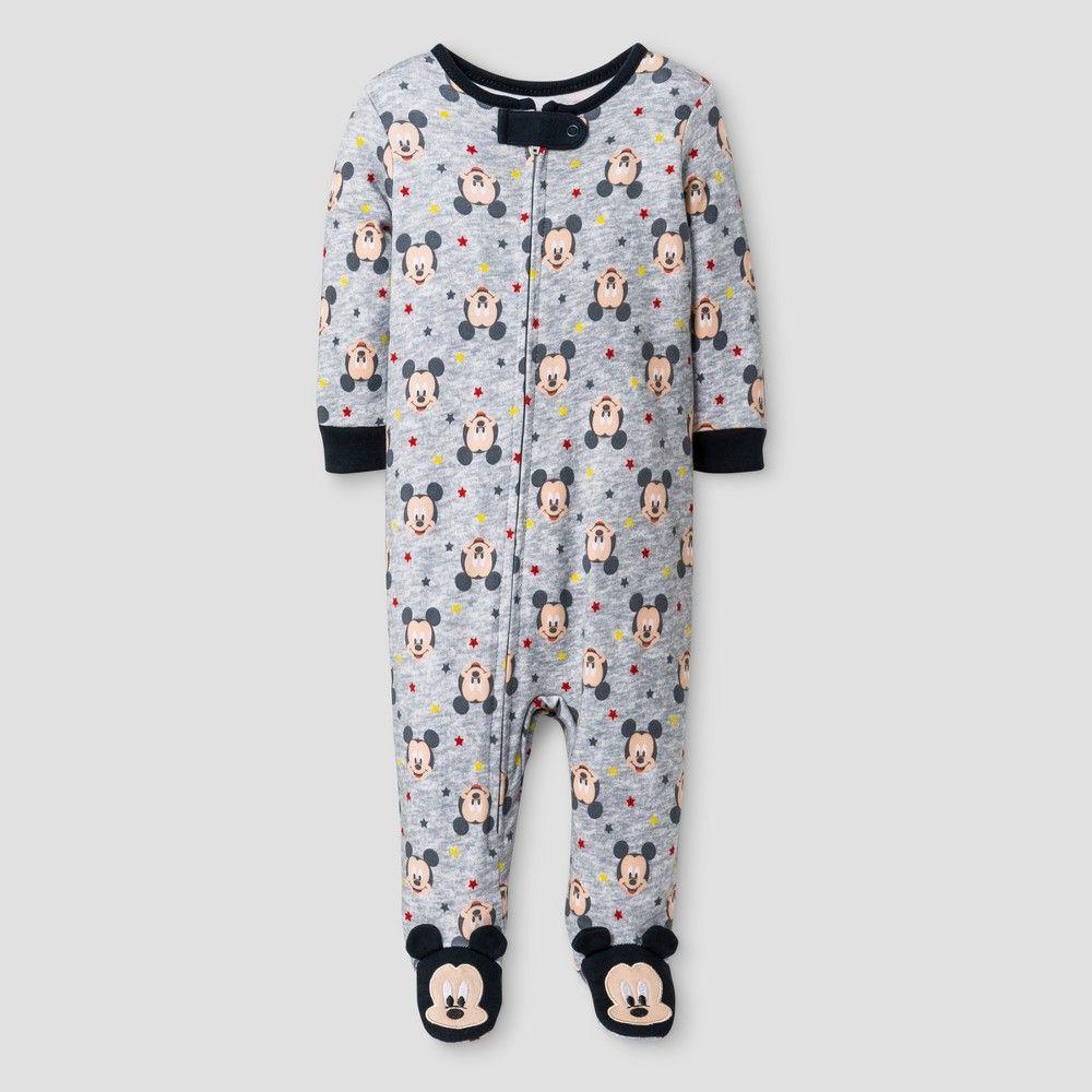 6648d4faa269 Baby Boys  Disney Mickey Mouse Footed Sleeper - Grey 0-3M