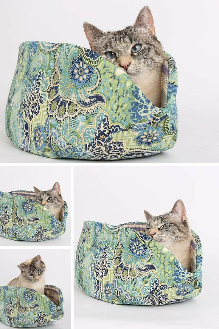 This Cat Canoe® Modern Cat Bed Is Made In Mermaid Colors Including Blue,  Green
