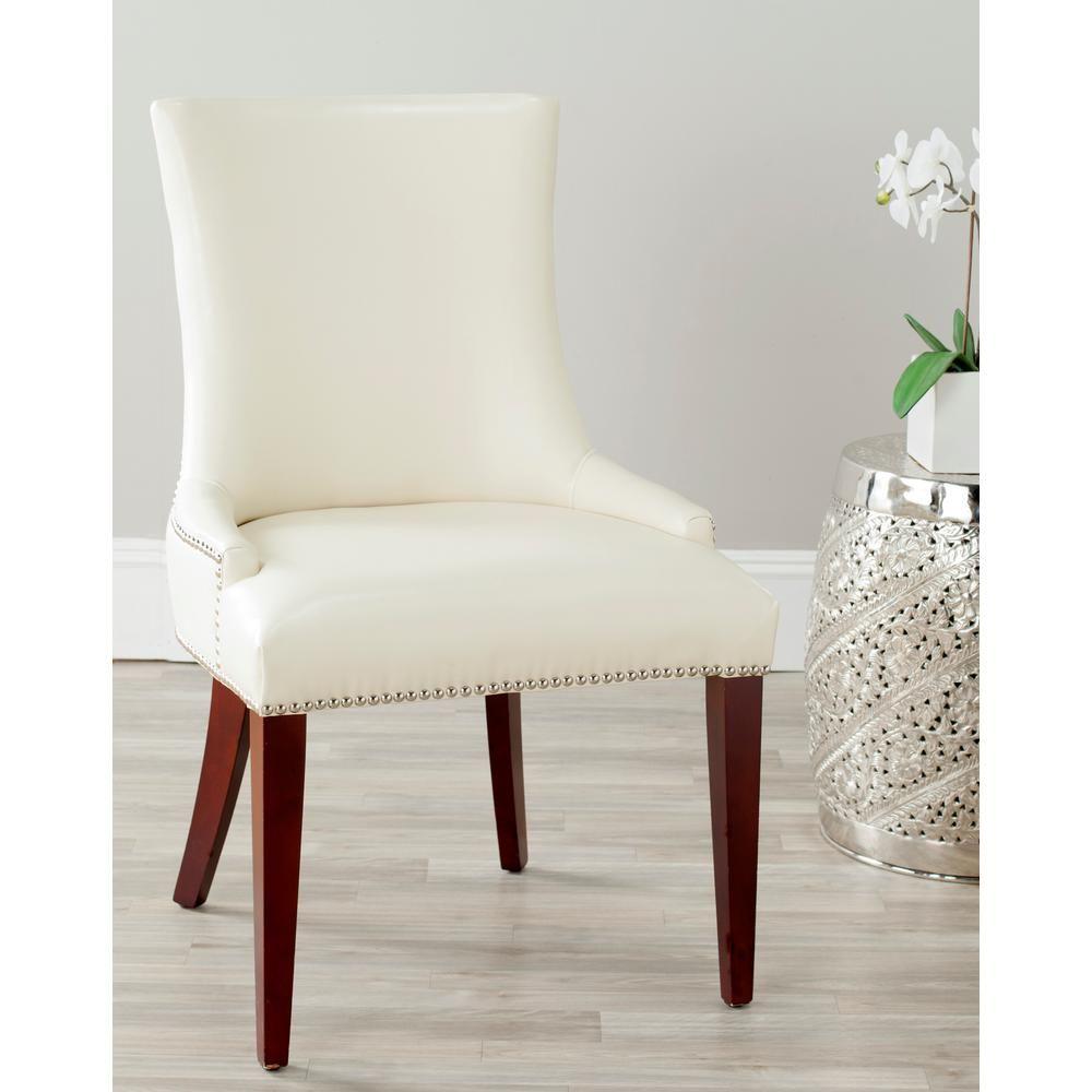 Safavieh Becca Flat Cream Leather Dining Chair Cherry Mahogany