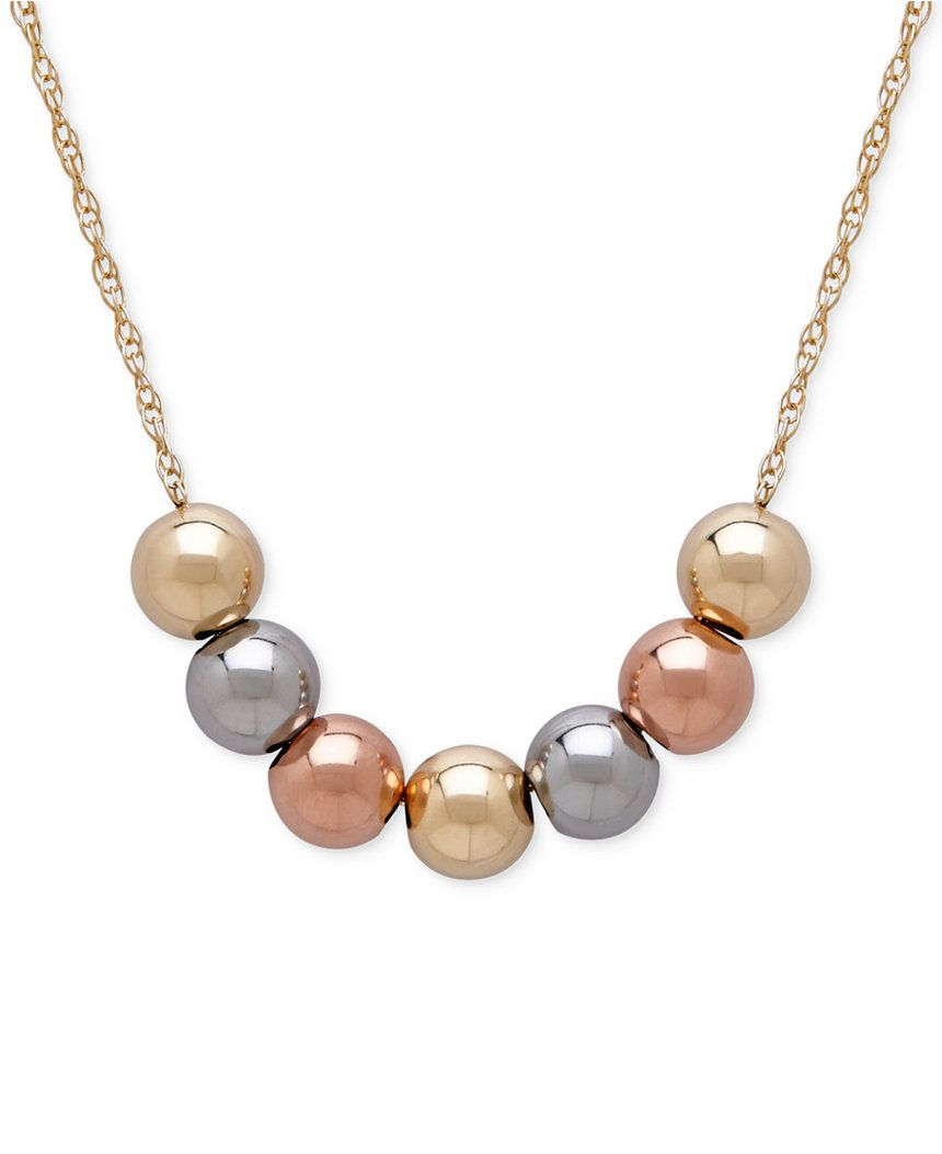 Italian Gold Tri Tone Beaded Statement Necklace In 10k Yellow White And Rose Gold Reviews Necklaces Jewelry Watches Macy S Beaded Statement Necklace Delicate Gold Necklace Diamond Bar Necklace