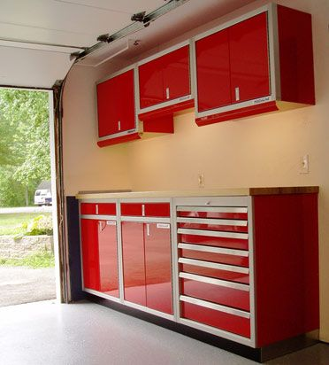 Red garage cabinets garage workshop pinterest garage for Kitchen units in garage