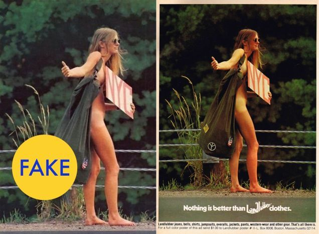 The photo was staged for an ad campaign in 1971.  The naked hitchhiker ad was one of many in a campaign for Landlubber Clothing Company featuring people wearing nothing but their birthday suits.