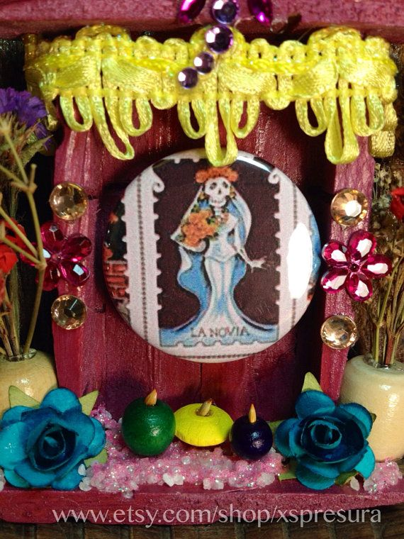 Loteria Pinback Button Nicho / Dia-de-los-Muertos Shrine / Day of the Dead Altar / Badge Accessory Frame / La Novia on Etsy, $25.00