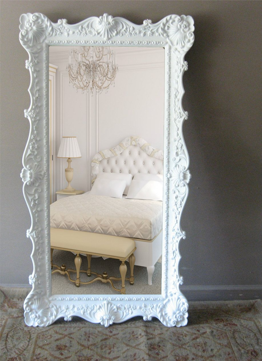 white leaning floor mirror. Delighful Mirror Vintage Leaning Floor Mirror Opulent Hollywood Regency 69900 Via Etsy Intended White Mirror R