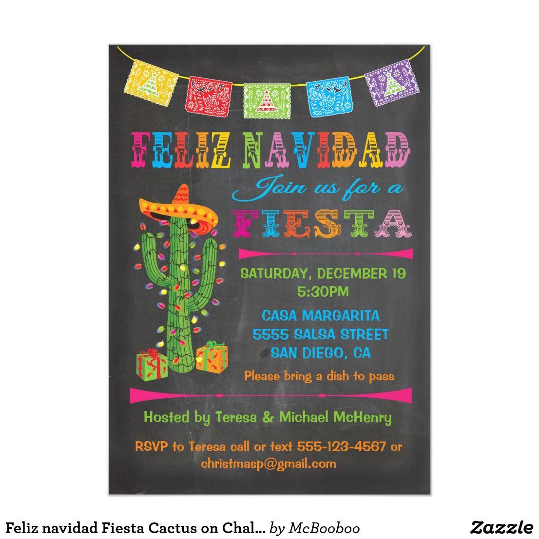 Feliz Navidad Fiesta Cactus On Chalkboard Invitation