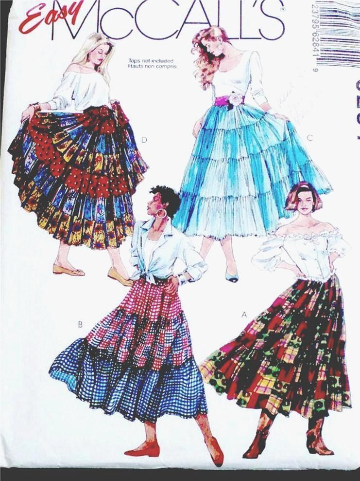 NEW FAB 6 TIERED DRESSY ROMANTIC EVE or WESTERN SKIRT Sewing Pattern ...