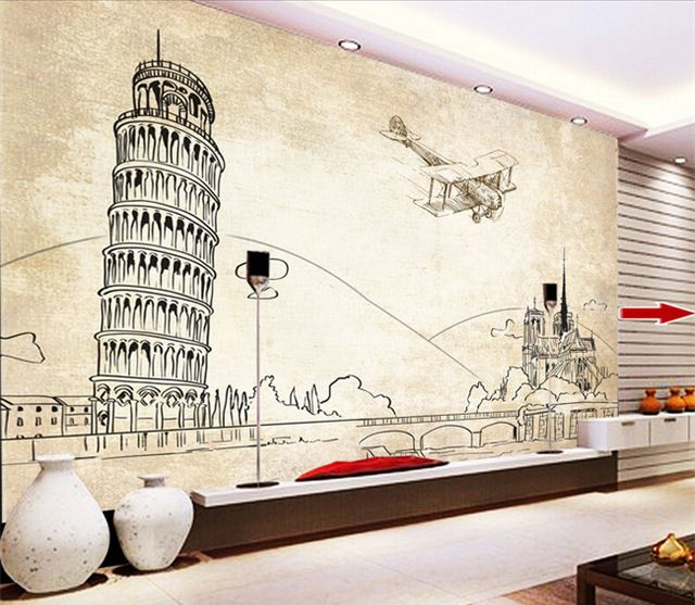 Free Shipping Leaning Tower Pisa European Architecture Wall Painting Line Drawing TV Background Mural Wallpaper