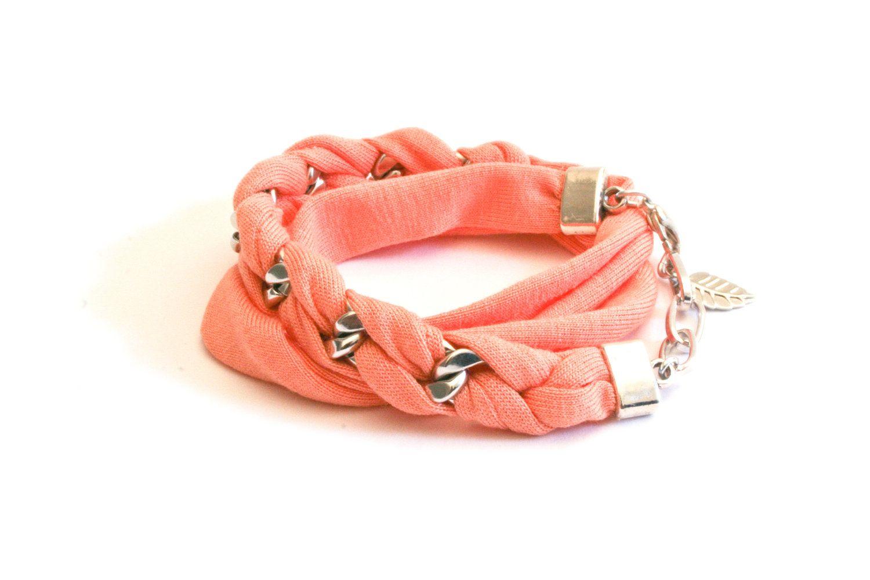 wrap twice bracelet peach tangerine jersey and chunky by gudbling, €24,00