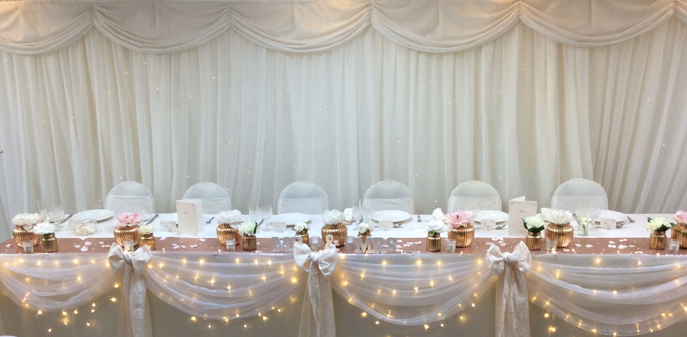 Voile And Fairy Lights Top Table Dressing By Add Style Uk Wedding Top Table Wedding Centerpieces Fairy Lights