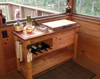 Reclaimed Barnwood Bar Cart Cedar Cooler Cabinet Wine Bar Or Custom Designs Available For Indoor Or Outdoor Patios And Porches Avec Images Meuble Plancha Mobilier De Salon