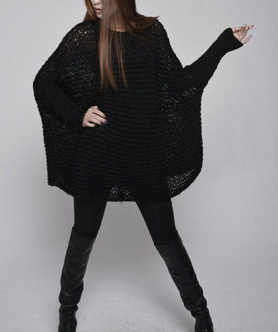 c167ce35c Suéter de mujer de gran tamaño   punto jersey en negro