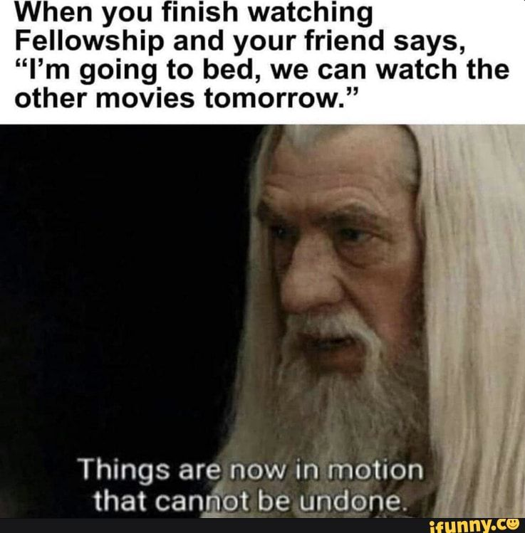 When You Finish Watching Fellowship And Your Friend Says I M Going To Bed We Can Watch The Other Movies Tomorrow Things Are Now In Motion That Canmot Be Lord