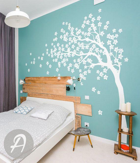 Große Weiße Baum Wand Aufkleber Blühende Baum Wand
