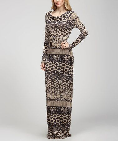 Another great find on #zulily! Ivory & Black Geometric Drape Maxi Dress - Women #zulilyfinds