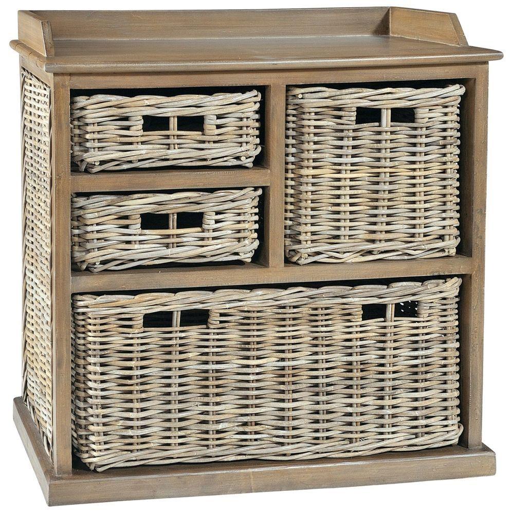 Rowico Maya Rattan Grey Wash 3 Over 1 Basket Storage Unit Large