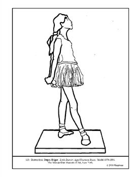 degas coloring book pages | Degas. Little Dancer, Aged 14 Years. Coloring page ...