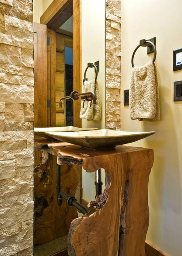 Naturholz Waschbecken Möbel Massivholz Massivmöbel Design Bad