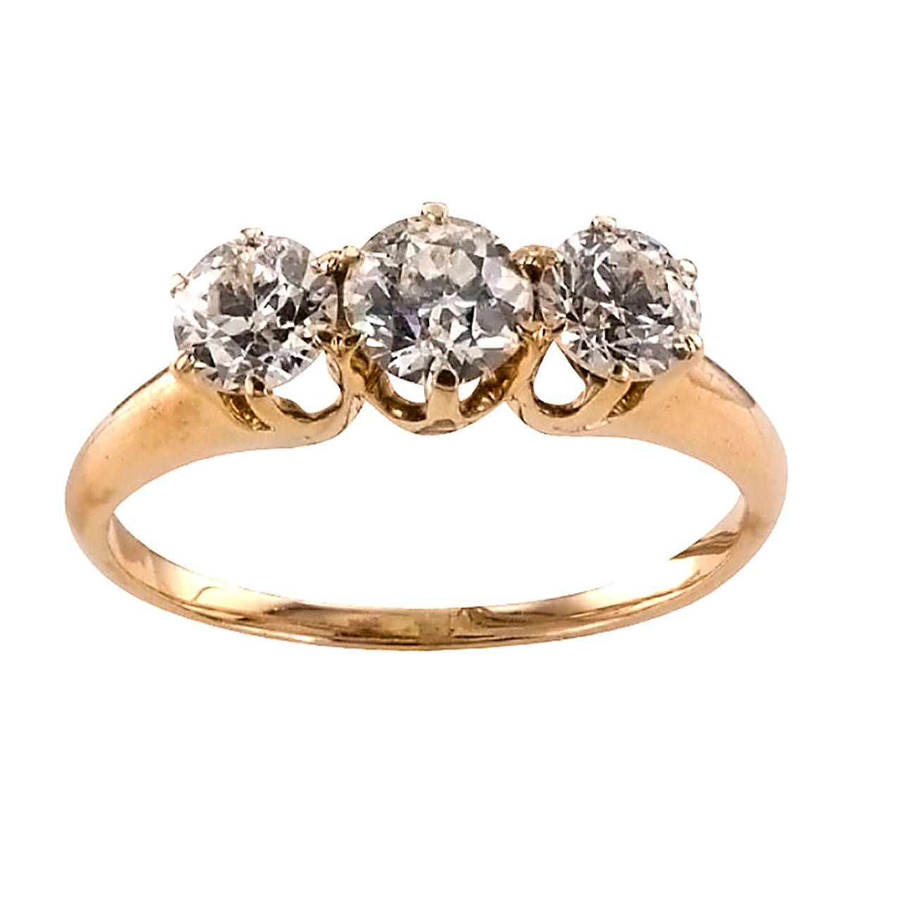Victorian threestone diamond gold engagement ring victorian