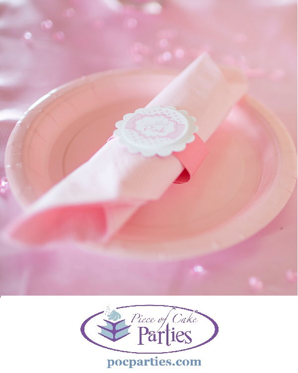 Tickled pink baby shower disposable napkin, napkin rings, and plate.  By Piece of Cake Parties.  Charming.  Effortless.  Affordable.