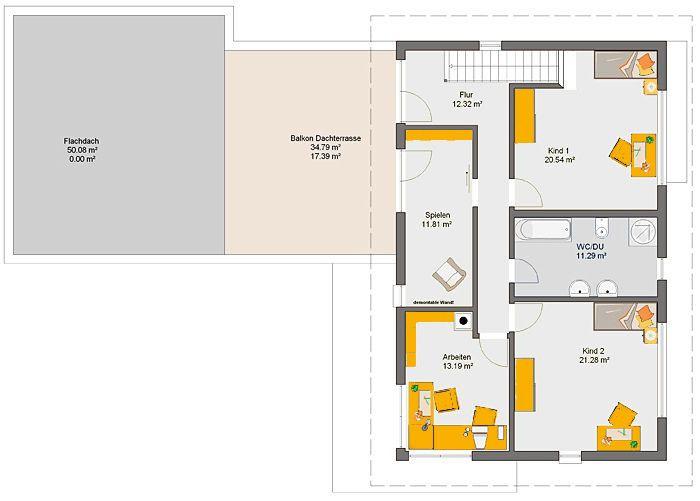Fertighaus Adamello Grundriss DG Coole Raumideen Pinterest - grundriss küche mit kochinsel