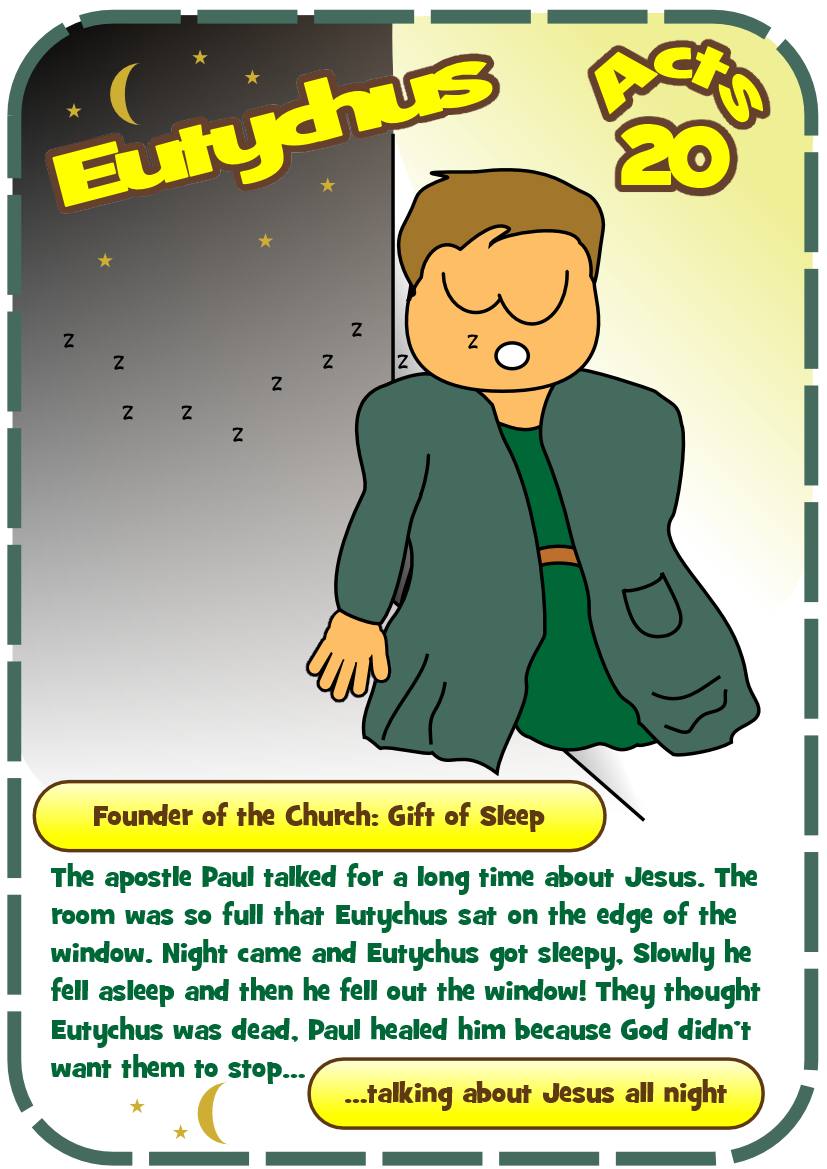 Eutychus - the sleepy convert (acts 20) | Bible | Pinterest | Acts ...
