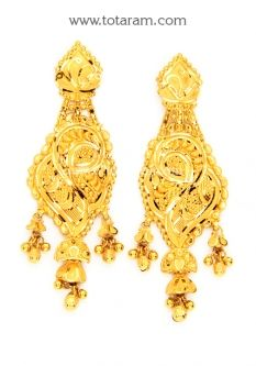 Buy 22K Gold Drop Earrings - GER6599 with a list price of $649.99 - 22K Indian Gold Jewelry from Totaram Jewelers