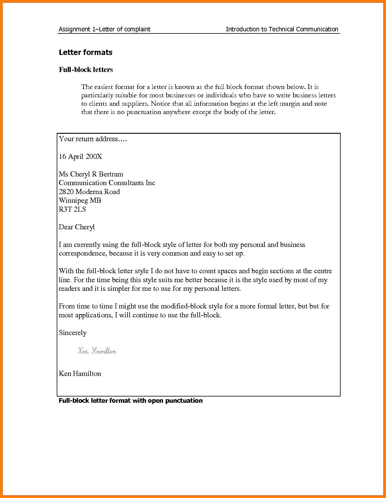 Full Block Letter Format Best Of 5 Example Template Word After Interview Lettering Busines Essay