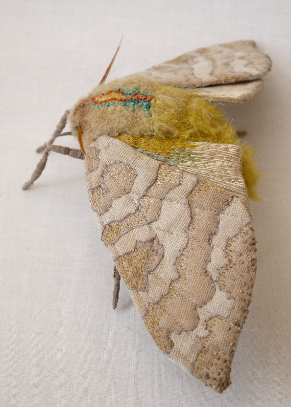 Fabric sculpture Large banded tussock moth textile by irohandbags