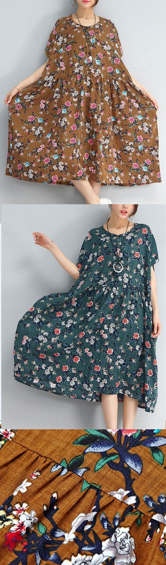 defa81e717f5 stylish yellow floral linen dresses plus size clothing shirt dress2018short  sleeve cotton dress plussizedress omychic