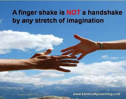 A finger shake or clammy palms isn't the idea behind an Effective Handshake. There are 5 ingredients involved. Do you use them? via @karmically