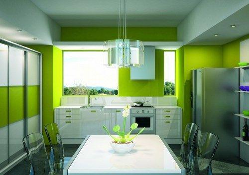 cocina con pared verde manzana | COLORES HOGAR | Pinterest | Paredes ...