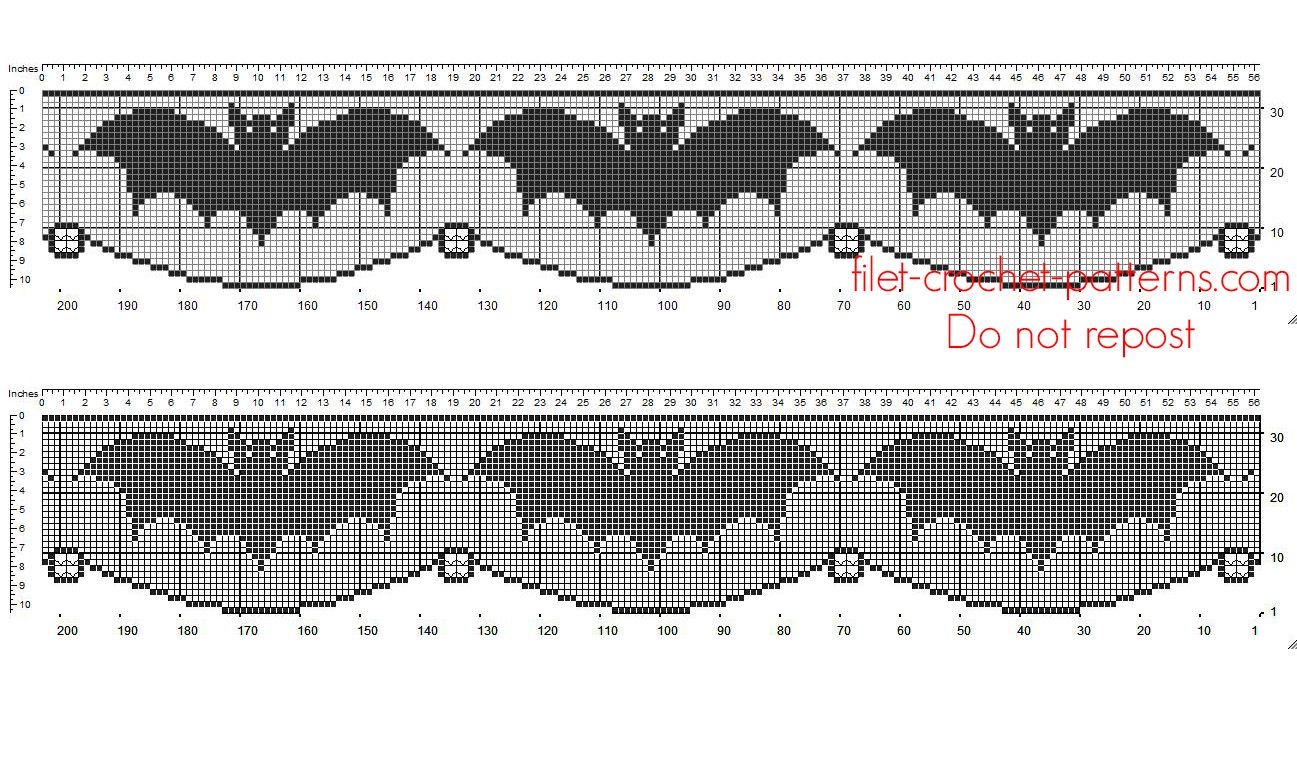 Crochet filet pattern Halloween border with bats - free filet ...