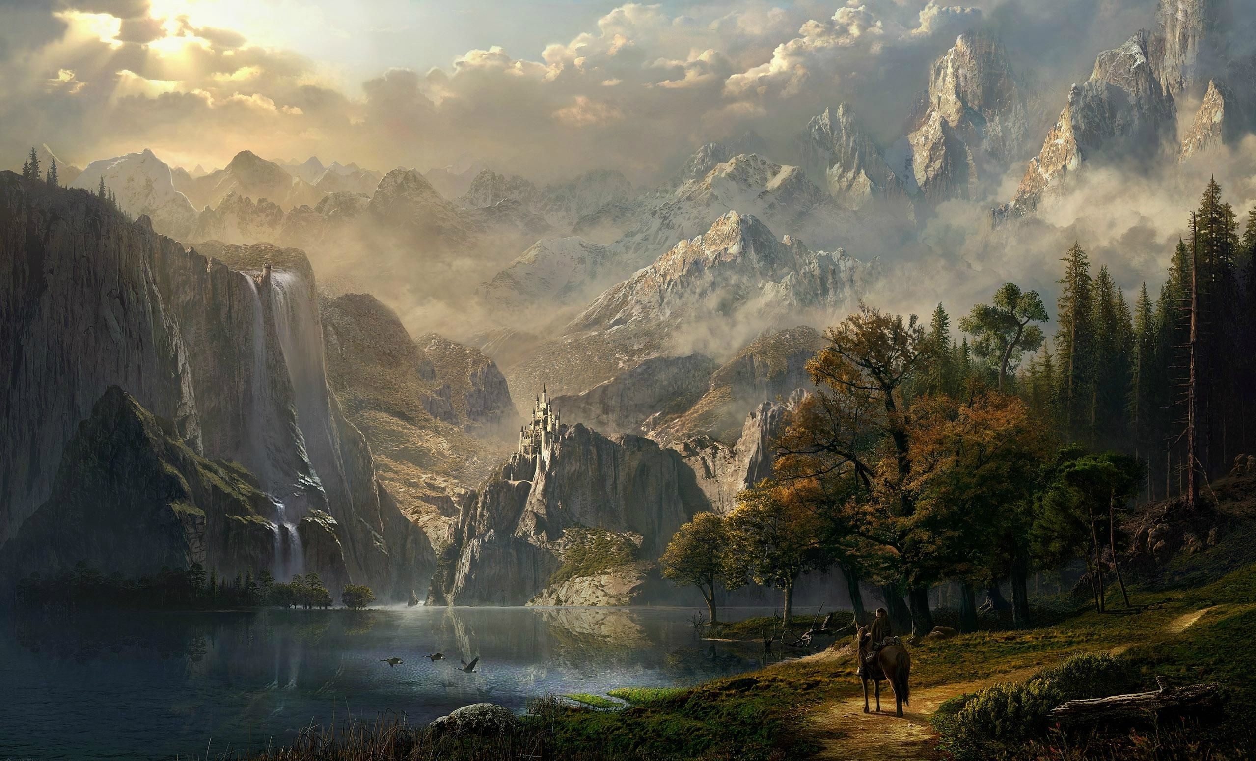View Of The Castle Across The Lake Computer Wallpapers Desktop Backgrounds 2558x1550 Id 152779 Fantasy Landscape Landscape Wallpaper Landscape Art