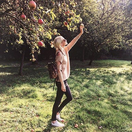 Poppy Delevingne's Picks Apples In Perfect Autumn Style