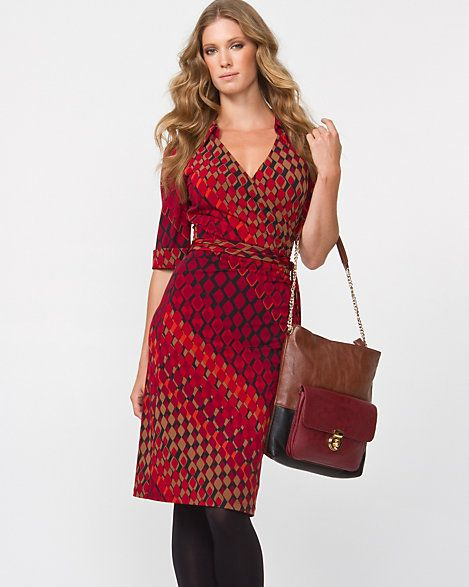 Geo Print Faux-Wrap Dress - Fall hues in a geometric pattern lend style to this collared faux-wrap dress.