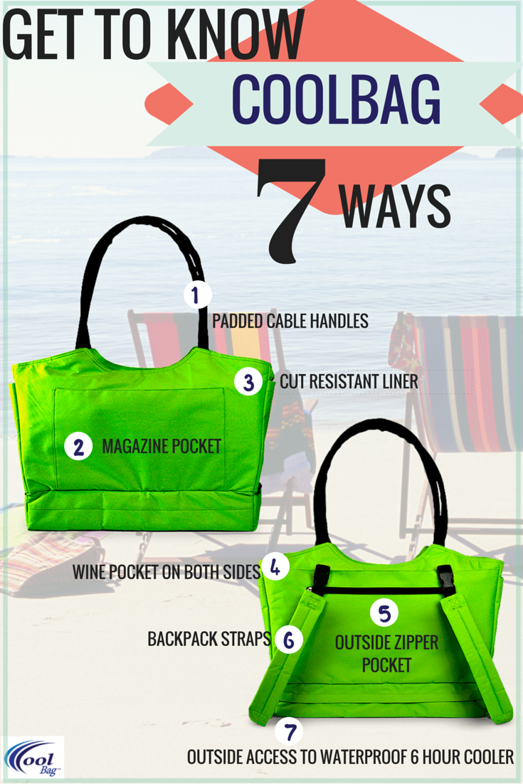 Security beach tote with built-in anti-theft features and a cooler ...