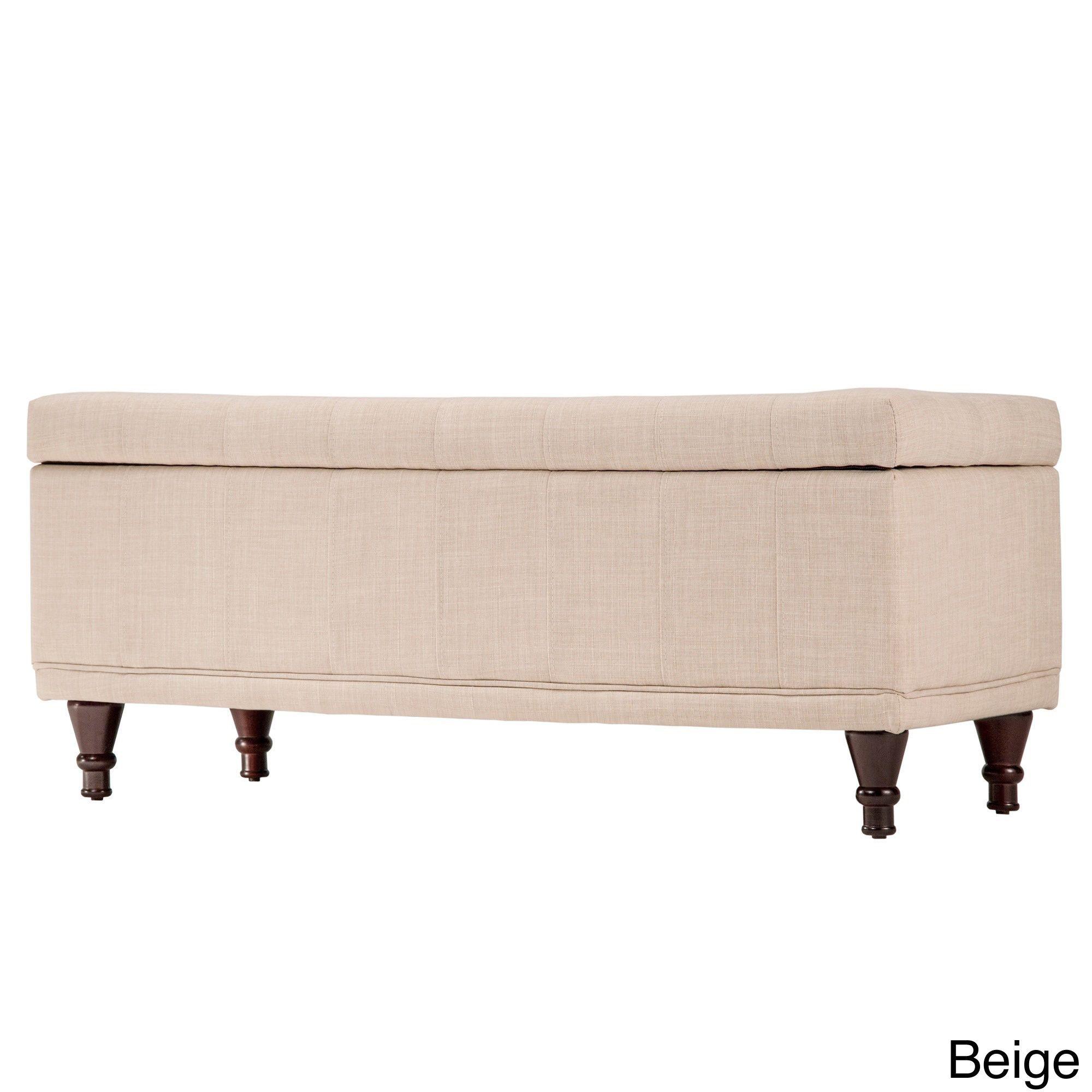 Inspire Q St Ives Lift Top Tufted Storage Bench (Beige Linen), Brown (