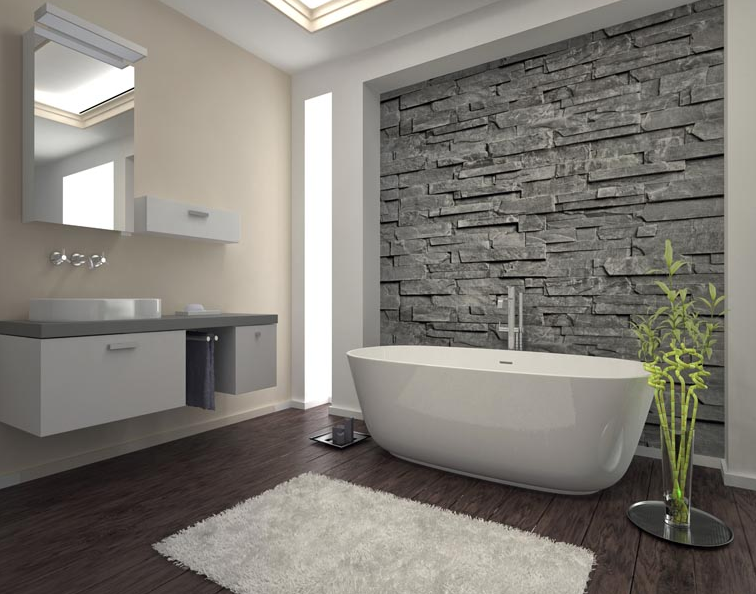The faux wood flooring in this bathroom complements the for Bathroom wall cladding ideas