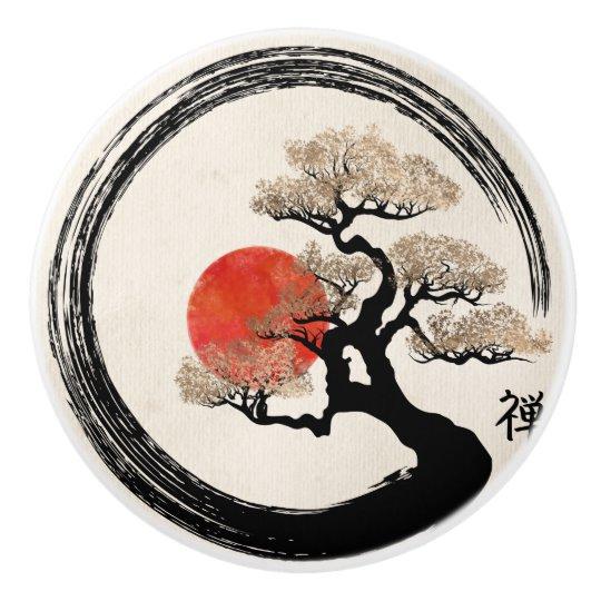 Enso Circle and Bonsai Tree on Canvas Ceramic Knob | Zazzle.com